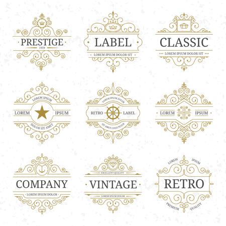 Vintage luxury logo template set with flourishes elegant lines. Restaurant, boutique, cafe, hotel, jewelry, heraldic identity. Vector illustration Vectores