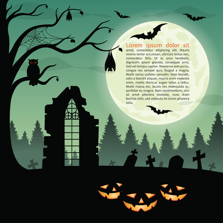 graves: Halloween party background with pumpkins in the grass, ruins, graves, bats, owl and full moon