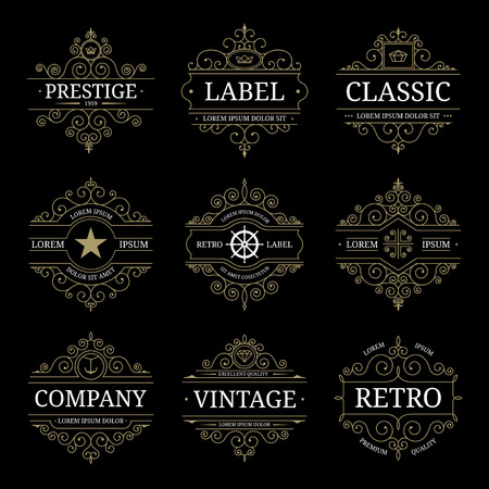 Set of retro vintage luxury logo templates with flourishes elegant calligraphic design elements. Restaurant, boutique, cafe, hotel, jewelry, heraldic identity. Vector illustration