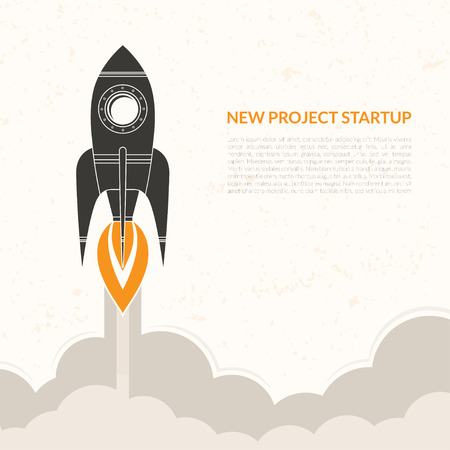 Space rocket launch background in vintage style. Vector start up  concept Illustration