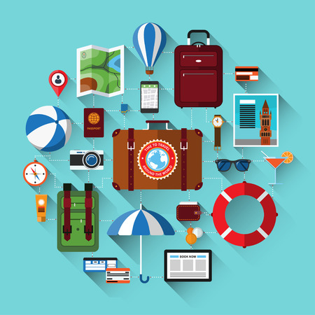 baggage: Travel background with icons of tourism, vacation planning, journey in holidays. Tourism and journey objects, items and passenger luggage. Flat design vector illustration background with long shadows