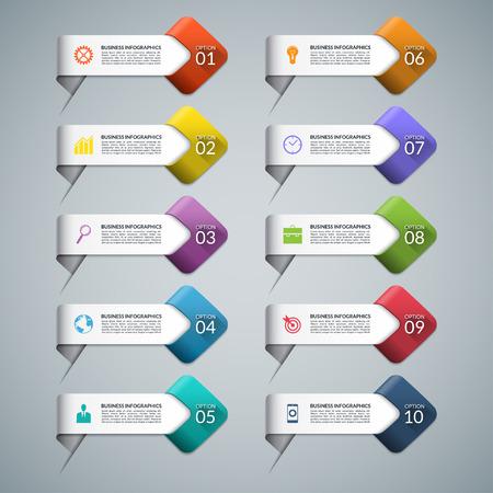 Conjunto de flechas infográficas con iconos de marketing empresarial. Plantillas para diagrama, gráfico, diagrama, presentación, el número y las opciones de paso, diseño de páginas web. 10 pasos, piezas, opciones. Elementos de diseño vectorial Foto de archivo - 46356680