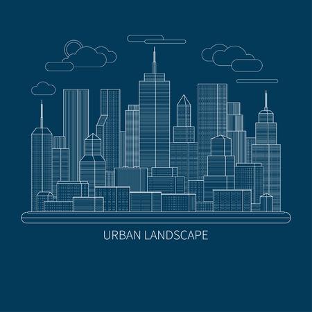 centre d affaires: Thin ville de ligne concept de paysage illustration. Vue du centre d'affaires d'une grande ville. Design plat abstrait vecteur de fond