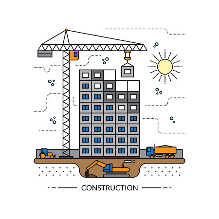 building site: Thin line construction site, process of building a house concept illustration in flat style. Construction machinery: crane, excavator, tractor, tipper. Isolated on white background Illustration
