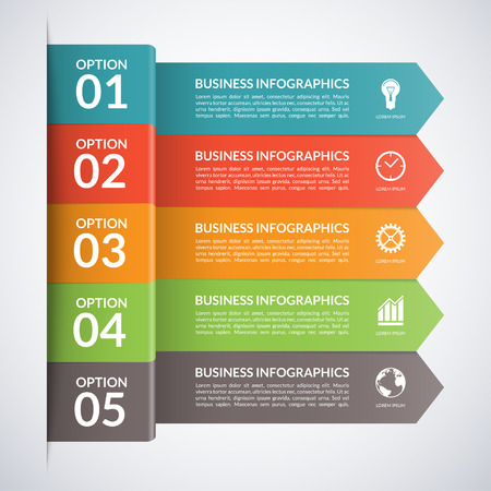 grafica de barras: Arrow plantilla infografía negocios. Banderas numeradas para diagrama, gráfico, folleto, informe, presentación, gráfico, diseño de páginas web. 5 pasos, piezas, opciones, etapas de fondo abstracto del vector
