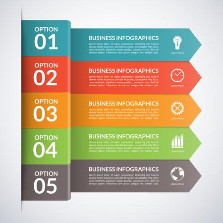 Arrow zakelijke infographics template. Genummerde banners voor diagram, grafiek, brochure, rapport, presentatie, grafiek, webdesign. 5 stappen, onderdelen, opties, stages abstract vector achtergrond Stock Illustratie