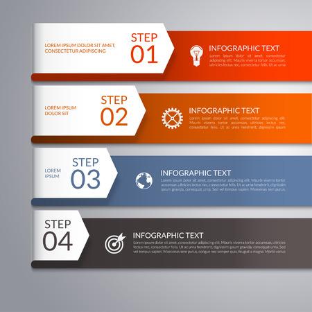 cuatro elementos: infografía plantilla con flechas de papel curvas. Puede ser utilizado para el diseño de flujo de trabajo, diagrama, informe, presentación, diseño de páginas web. 4 pasos, piezas, opciones, escenarios de fondo abstracto del vector