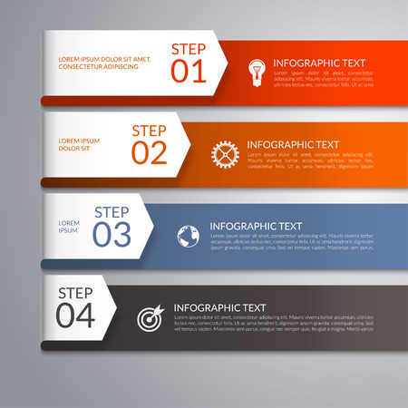 Modern infographic template with curved paper arrows. Can be used for workflow layout, diagram, report, presentation, web design. 4 steps, parts, options, stages abstract vector background Vettoriali