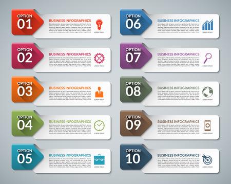 Infografía plantilla de diseño con iconos de la comercialización del negocio. Diez opciones, pasos, el concepto de partes del negocio. Adecuada para su presentación, diagrama, informe, las opciones de paso, diseño web Foto de archivo - 47072893