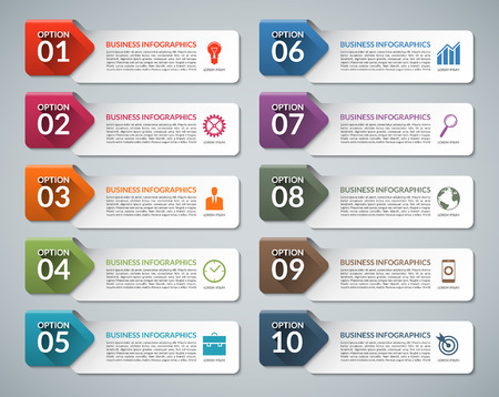 Infographic design template set with business marketing icons. Ten options, steps, parts business concept. Suitable for presentation, diagram, chart, report, step options, web design Illustration