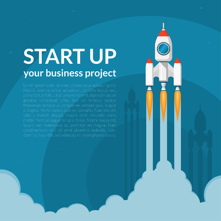 new business: Space rocket launch. New business project start up concept in flat design style. Space for text. Vector illustration background