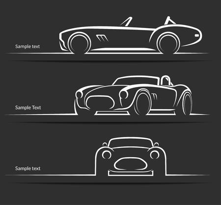 deportes caricatura: Conjunto de siluetas de coches deportivos de �poca cl�sica, esquemas, contornos aislados en el fondo oscuro. ilustraci�n vectorial Vectores