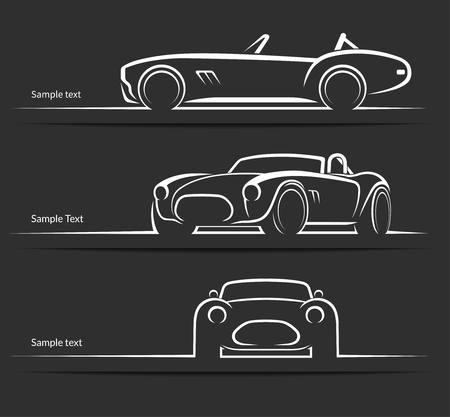 Set of vintage classic sports car silhouettes, outlines, contours  isolated on dark background. Vector illustration Illustration