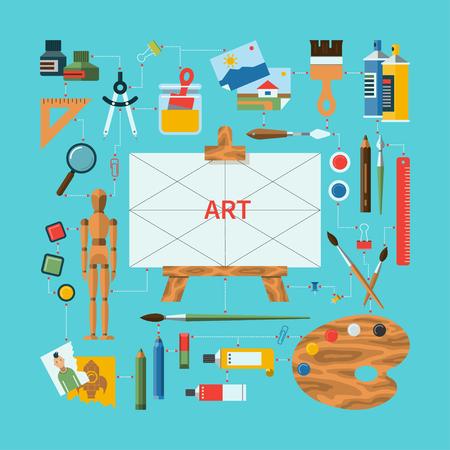 mannequin: Design plat illustration vectorielle art concept avec des ic�nes de fournitures d'art, instruments d'art pour la peinture, le dessin, l'esquisse. Chevalet, palette, en bois Mannequin, pinceaux, stylos, crayons, peintures
