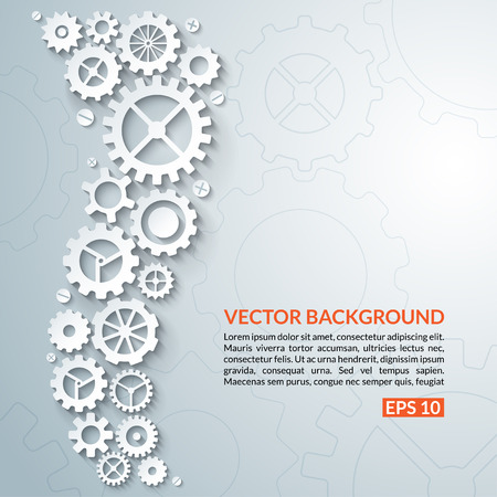 watch gears: Abstract techno background with white gear wheels. Space for text. Vector illustration