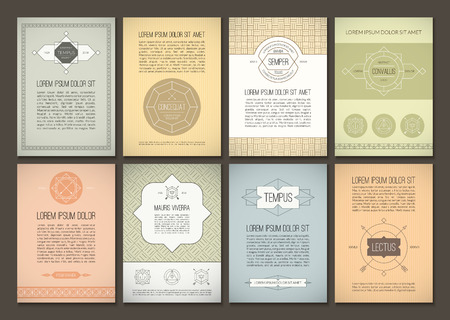 Set of brochures in vintage style. Vector design templates. Geometric retro frames and backgrounds. Can be used for flyer, booklet, menu, leaflet, placard, poster