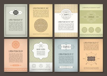 speisekarte: Set von Broschüren im Vintage-Stil. Vektor-Design-Vorlagen. Geometric Retro-Frames und Hintergründe. Kann für Flyer, Broschüre, Menü, Flugblatt, Plakat, Poster verwendet werden Illustration