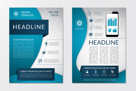 Flyer brochure design layout template with set of business marketing icons and infographic elements. Vector illustration