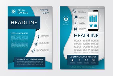 Plantilla del aviador diseño diseño de folletos con el conjunto de iconos de marketing de negocios y elementos infográficos. Ilustración vectorial Ilustración de vector