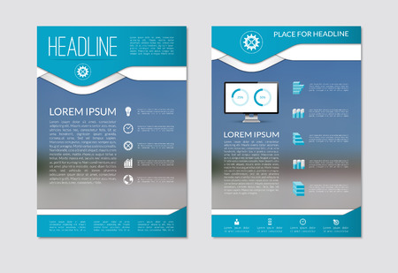 배경을 흐리게 및 비즈니스 마케팅 아이콘 및 인포 그래픽 요소의 세트와 함께 전단 브로슈어 디자인 레이아웃 템플릿입니다. A4 크기입니다. 벡터 일 일러스트