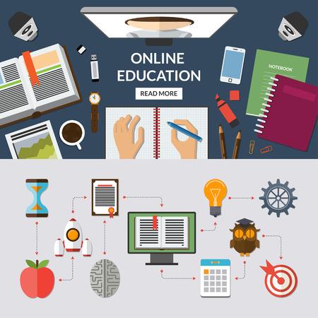 教育: オンライン教育は、学習、web コース フラット コンセプト背景バナー アイコンを設定する教育を e。デスクトップ上の平面図です。プロセスを研究します。ベクト