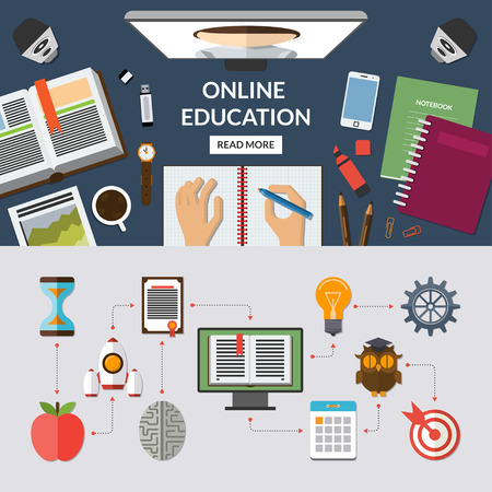 Online education, e learning, web courses flat concept background banner with education icons set. Top view on desktop. Study process. Vector illustration. Stock Photo