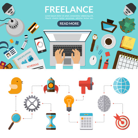 code: Freelance concept background banner in flat style with set of business marketing icons. Top view on desktop. Vector illustration