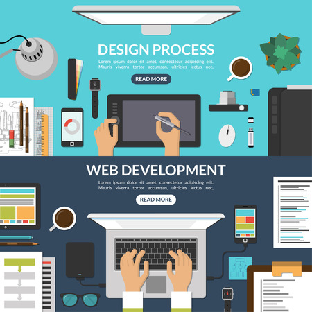 Web and graphic design process and web development concept background banners set in flat style. Top view of a desktop. Vector illustration