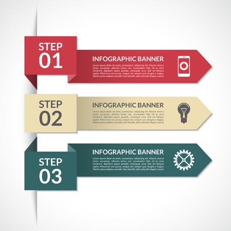 Modern minimal arrow infographic elements. Design template for diagram, graph, report, presentation, chart, web design. 3 steps, parts, options, stages. Vector background banner Illustration