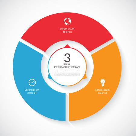 par: Vector infográfico círculo. Molde para o gráfico, diagrama ciclismo, gráfico rodada, layout de fluxo de trabalho, opções de números, web design. 3 passos, peças, opções, fases conceito de negócio Ilustração
