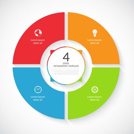벡터 인포 그래픽 원. 그래프, 자전거도, 원형 차트, 워크 플로우 레이아웃, 번호 옵션, 웹 디자인을위한 템플릿입니다. 4 단계, 부품, 옵션, 비즈니스 개