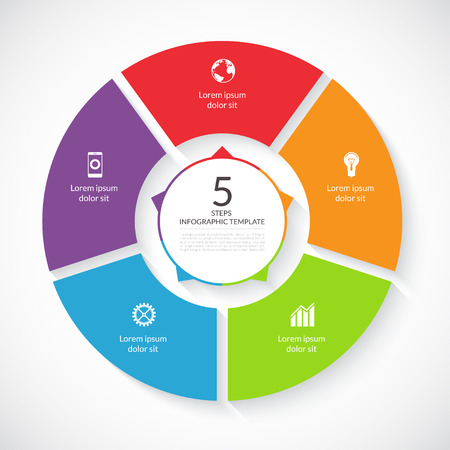 Vecteur cercle infographique. Modèle de graphique, diagramme de cyclisme, diagramme rond, flux de travail mise en page, les options numériques, conception de sites Web. 5 étapes, pièces, options, stades concept d'entreprise