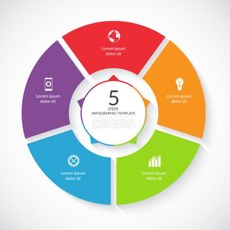 loop: Vector círculo infografía. Plantilla para el gráfico, diagrama ciclismo, tabla redonda, diseño de flujo de trabajo, opciones de número, diseño de páginas web. 5 pasos, piezas, opciones, etapas concepto de negocio