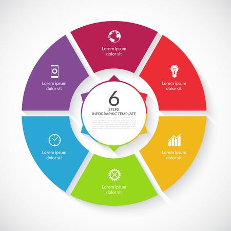 벡터 인포 그래픽 원. 그래프, 자전거도, 원형 차트, 워크 플로우 레이아웃, 번호 옵션, 웹 디자인을위한 템플릿입니다. 6 단계, 부품, 옵션, 비즈니스 개 일러스트