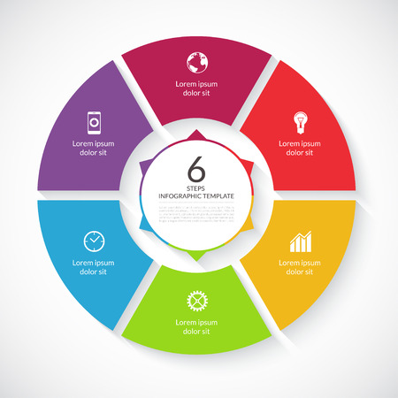 Vector infographic circle. Template for graph, cycling diagram, round chart, workflow layout, number options, web design. 6 steps, parts, options, stages business concept