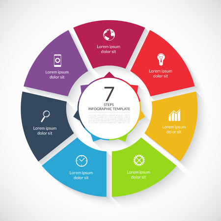 Vector infographic circle. Template for graph, cycling diagram, round chart, workflow layout, number options, web design. 7 steps, parts, options, stages business concept