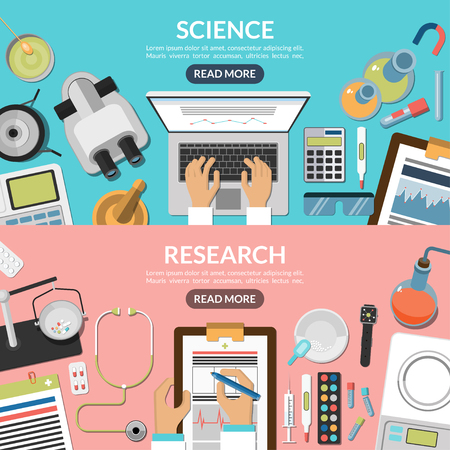 laboratory glass: Science and research flat vector concept background banners set. Medical laboratory workplace and equipment: microscope, scales, glassware, laptop, thermometer, records, pills etc. Top view.