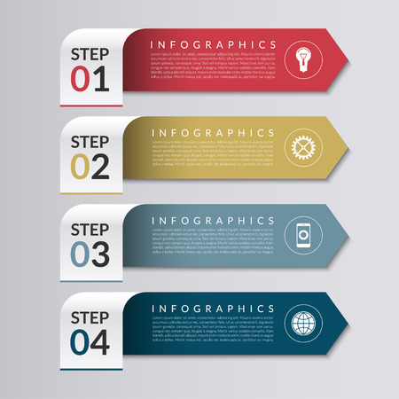 chart graph: Business infographics design template in the form of colored paper arrows.  4 steps vector background banner