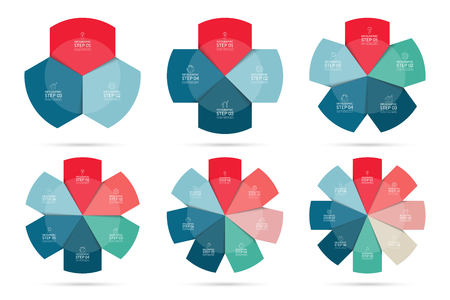 5 6: Vector infographics design circle template set. Can be used  for web, diagram, graph, report, round chart. 3, 4, 5, 6, 7, 8 parts, steps, options banners