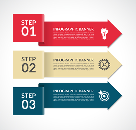 Vector infographic arrows. Design template for web, brochure, graph, report, presentation, chart, workflow layout. 3 steps  background banner
