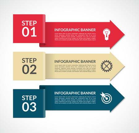 벡터 infographic 화살표입니다. 웹, 브로셔, 그래프, 보고서, 프레젠테이션, 차트, 워크 플로 레이아웃에 대 한 디자인 서식 파일. 3 단계 배경 배너 일러스트