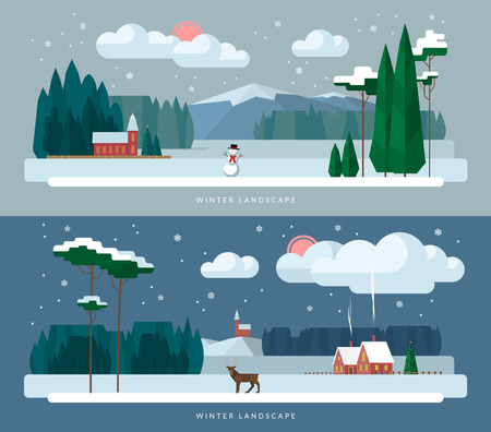 country christmas: Winter landscape background banners set in flat design style. Winter village, church, forest, snowman, deer, christmas tree, snowfall. Vector illustration