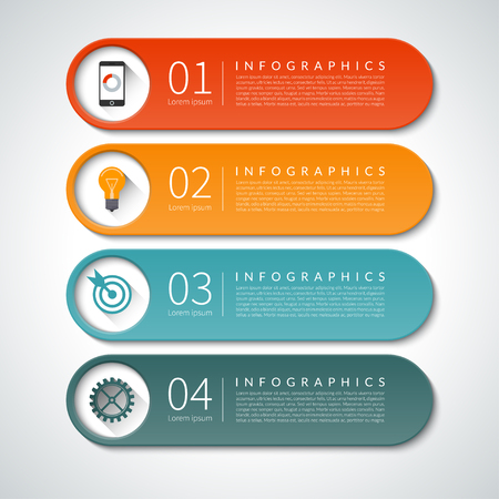 Infographic design banners set. Can be used for workflow  layout, diagram, report, graph, presentation, web design. 4 steps, parts options vector background
