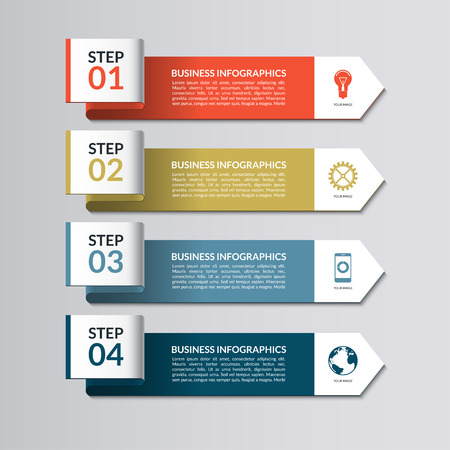 Infographic template. Curved paper arrows. 4 steps, parts, options vector background  イラスト・ベクター素材