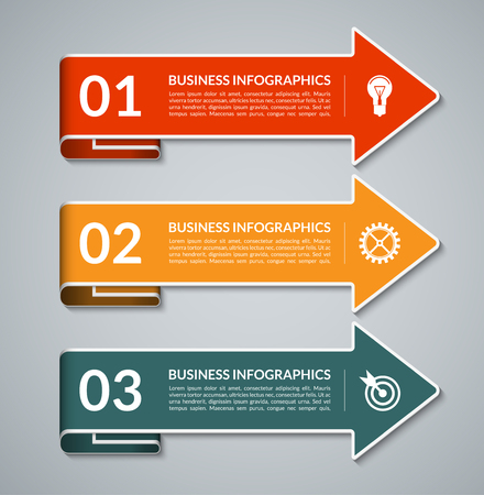 curved: Infographic arrows with white border. Template for web, diagram, graph, chart, presentation. 3 steps, parts, options vector background