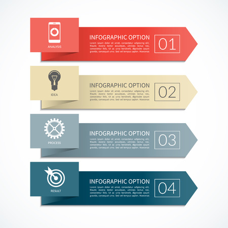 Bandera de la flecha infografía. plantilla de diseño de diagrama, gráfica, informe, presentación, gráfico, diseño web. 4 pasos, piezas, opciones, etapas. fondo del vector Foto de archivo - 48997768