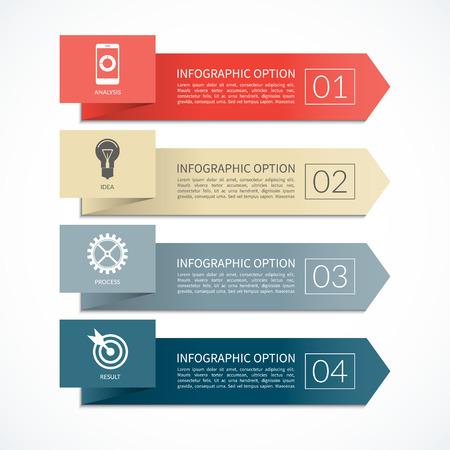 diagrama: Bandera de la flecha infografía. plantilla de diseño de diagrama, gráfica, informe, presentación, gráfico, diseño web. 4 pasos, piezas, opciones, etapas. fondo del vector