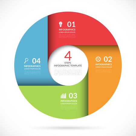 diagrama procesos: Círculo del vector plantilla para la infografía de negocio. bandera de colores para la web, gráfico, diagrama de ciclismo, tabla redonda, diseño de flujo de trabajo, opciones de números. 4 pasos, piezas, opciones de fondo abstracto