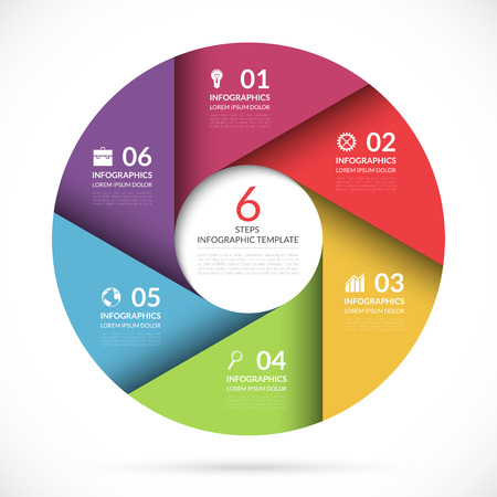 Vector circle template for business infographics. Colorful banner for web, graph, cycling diagram, round chart, workflow layout, number options. 6 steps, parts, options abstract background