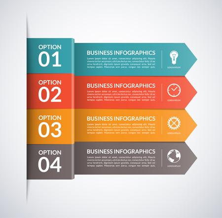 Flecha plantilla de infografía de negocio. 4 pasos, piezas, opciones, escenarios de fondo abstracto del vector Foto de archivo - 49359423